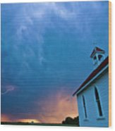Storm Clouds Over Saskatchewan Country Church Wood Print