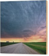 Storm Clouds Over Saskatchewan Country Road Wood Print