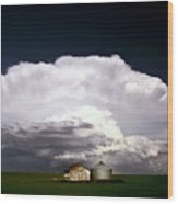 Storm Clouds Over Saskatchewan Granaries Wood Print