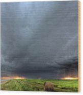 Storm Clouds Over Saskatchewan Wood Print