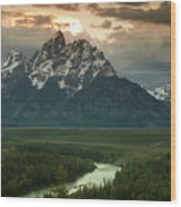 Storm Clouds Over The Tetons Wood Print by Andrew Soundarajan