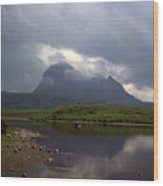 Storm Clouds Passing Across Suilven  And Fion Loch Near Ullapool Ross And Cromarty Scotland Wood Print