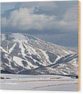 Storm Mountain Wood Print