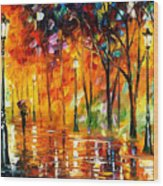 Storm Of Emotions - Palette Knife Oil Painting On Canvas By Leonid Afremov Wood Print