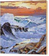 Storm On The Irish Coast Wood Print