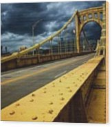 Storm Over Bridge Wood Print
