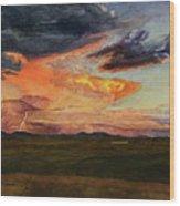 Storm Over Davis Mountains Wood Print