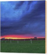 Storm Over Farm Country Wood Print