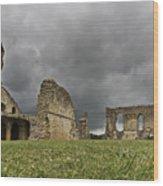 Storm Over Ruin Wood Print