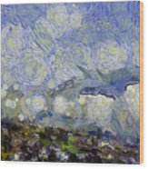 Storm Over Shore Wood Print