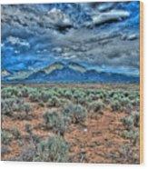 Storm Over Taos Mountain Wood Print