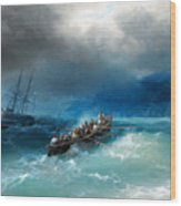 Storm Over The Black Sea Wood Print