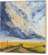 Storm Over The Country Road Wood Print