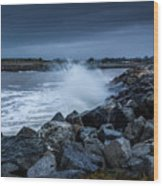 Storm Over The Jetty 1 Wood Print