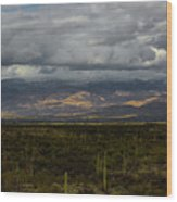Storm Over The Mountains Of Arizona Wood Print