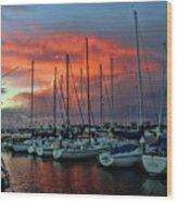Storm Over The Newport Harbor Wood Print