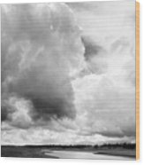 Storm Over The River Wood Print