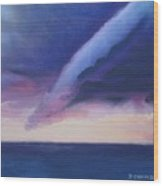 Storm Over The Lake At Sunset Wood Print