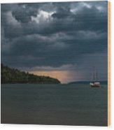 Storm Schooner Wood Print