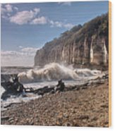 Storm Tide Cliffs End Wood Print