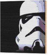 Storm Trooper In Black And White Wood Print