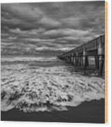 Storm Waves Breaking On The Shore Wood Print