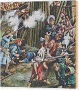 Storming Of The Fortress Of Neoheroka Wood Print