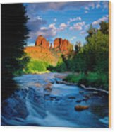 Stormlight On Red Rock Crossing Wood Print by Kerrick James