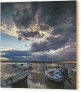 Storms At Dusk In La Caleta Cadiz Spain Wood Print