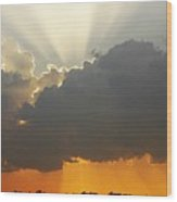 Storms Building At Sunset Wood Print
