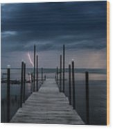 Storms On The Dock Wood Print