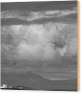 Storms Over The Cargo Ship - Black And White Wood Print