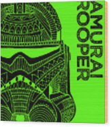 Stormtrooper Helmet - Green - Star Wars Art Wood Print