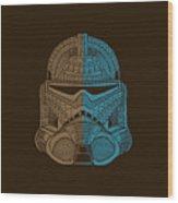 Stormtrooper Helmet - Star Wars Art - Brown Blue Wood Print