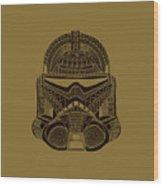 Stormtrooper Helmet - Star Wars Art - Brown  Wood Print