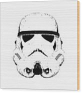 Stormtrooper Helmet Star Wars Tee Black Ink Wood Print