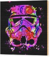 Stormtrooper Mask Rainbow 10 Wood Print