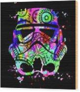 Stormtrooper Mask Rainbow 6 Wood Print