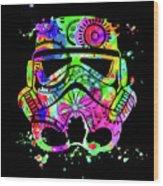 Stormtrooper Mask Rainbow 8 Wood Print