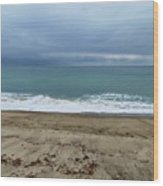 Stormy Beach Wood Print