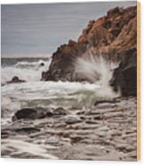 Stormy Beach Waves Wood Print