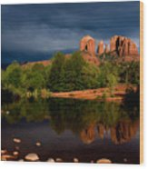Stormy Day At Cathedral Rock Wood Print