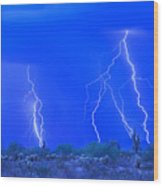 Stormy Desert Wood Print