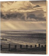 Stormy English Coastal Seascape Wood Print