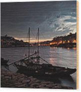 Stormy Evening Sky Above Porto And Gaia Wood Print