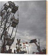Stormy Ferris Wheel Wood Print