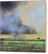 Stormy Field Wood Print