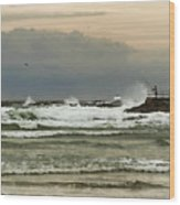 Stormy Fishing Wood Print