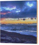 Stormy Icelandic Sunset Wood Print