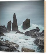 Stormy Iclandic Seas Wood Print